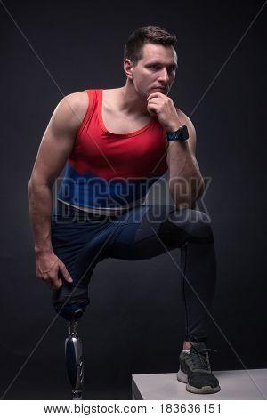 Man Sportsman Athlete Posing, Prosthetic Leg