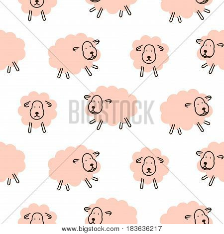 Cute sheeps girlish baby seamless vector pattern. Soft pink animal design for swaddle blanket and apparel fabric.