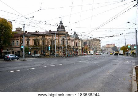 Typical urban landscape in the center of Bucharest - Bucuresti,  the capital of Romania, have 3 millions inhabitants and many historical vestiges