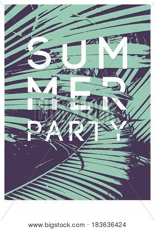 Summer Tropical Party typographic vintage poster design with palm leaves. Retro vector illustration.