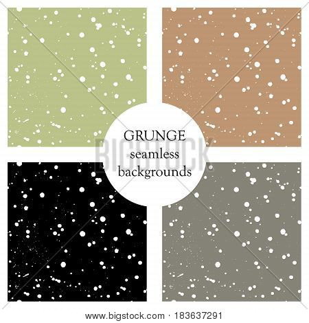 Set Of Vector Seamless Patterns With Inc Splash, Blots, Smudge And Brush Strokes. Grunge Template Fo