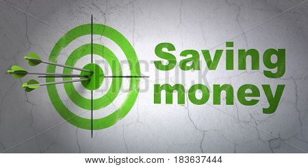 Success business concept: arrows hitting the center of target, Green Saving Money on wall background, 3D rendering