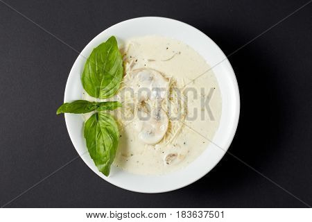 Cream Soup With Chicken And Mushrooms. Italian Style. Italian Food. Italian Cuisine.