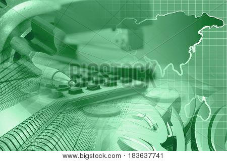 Financial background in greens with money calculator table map and pen.