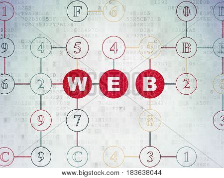 Web design concept: Painted red text Web on Digital Data Paper background with Hexadecimal Code