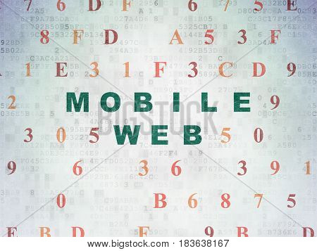 Web development concept: Painted green text Mobile Web on Digital Data Paper background with Hexadecimal Code