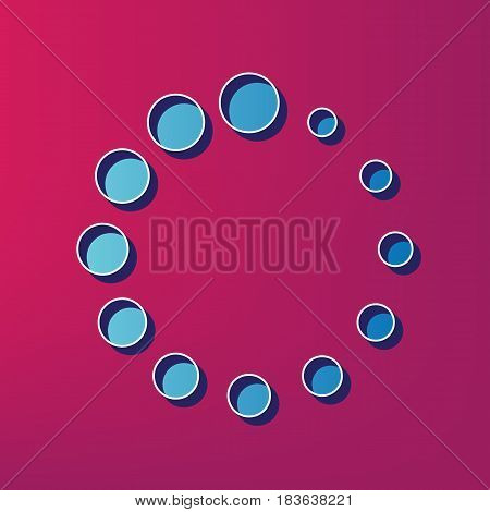Circular loading sign. Vector. Blue 3d printed icon on magenta background.
