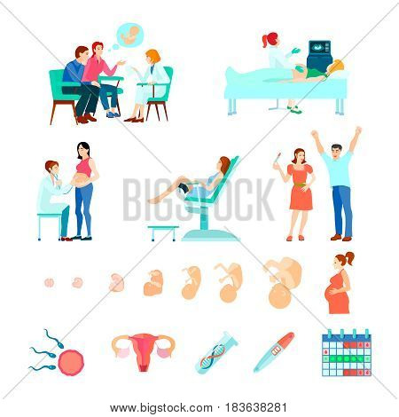 Colored isometric midwifery obstetrics gestation icon set with stages of pregnancy and seeing a doctor vector illustration