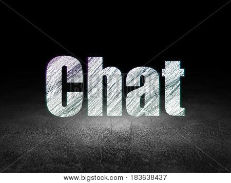 Web design concept: Glowing text Chat in grunge dark room with Dirty Floor, black background