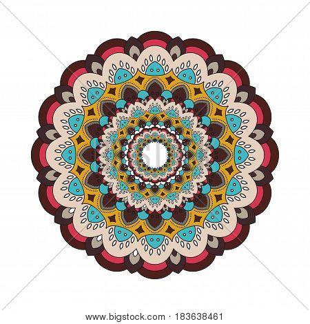 Decorative arabic round lace ornate mandala. Vintage vector pattern for print or web design. Mandala abstract colorful background. Invitation, wedding card, national design.