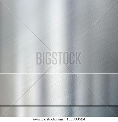metal stripe over aluminum brushed background 3d illustration