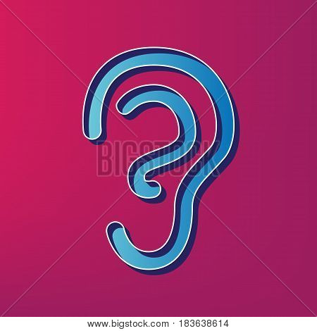 Human anatomy. Ear sign. Vector. Blue 3d printed icon on magenta background.