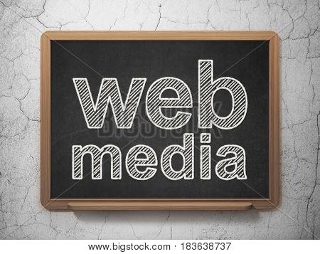 Web development concept: text Web Media on Black chalkboard on grunge wall background, 3D rendering