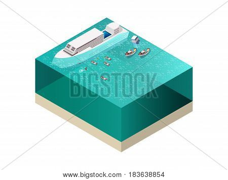 Rescue service team saving people near drowning ship isometric composition on white background 3d vector illustration