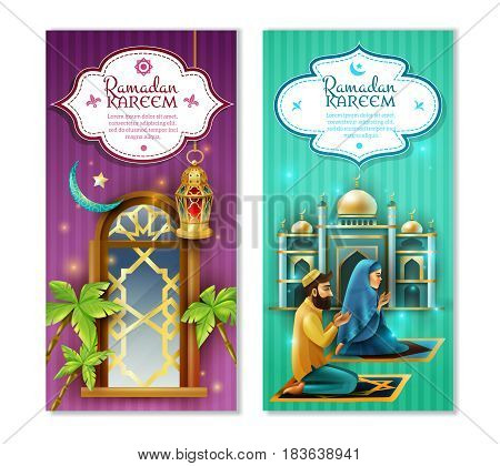 Ramadan muslims religious holy month fasting and praying practice symbols 2 vertical banners set isolated vector illustration