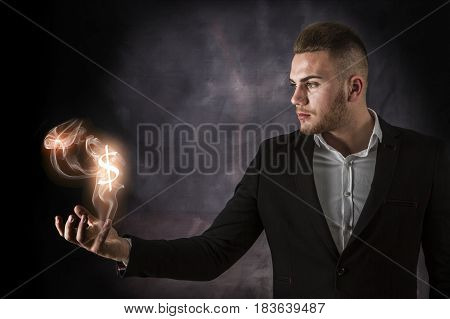 Business Man With Dollars On Fire
