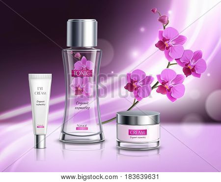 Organic cosmetics skincare products realistic composition  advertisement poster with natural flowers extract  tonic vibrant violet background vector illustration