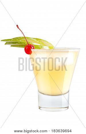 Refreshing Cocktail With Apple Slices And Maraschino Cherry For Decoration