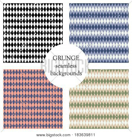 Set Of Seamless Vector Patterns. Geometric Checkered Backgrounds With Rhombus. Grunge Texture With A