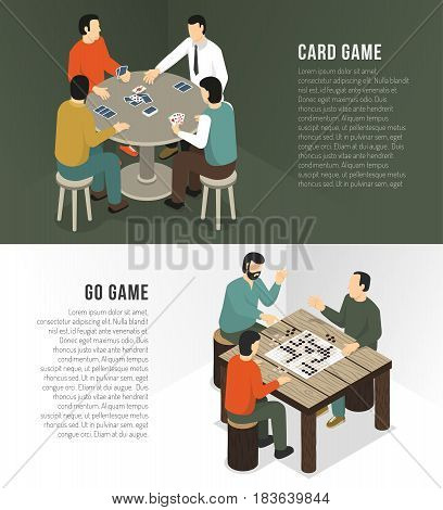 Two horizontal board games banner set with card game and go headlines vector illustration