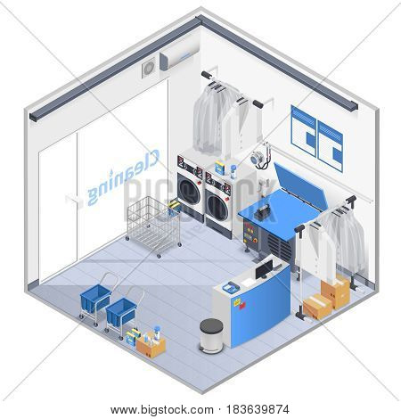 Laundry Interior isometric composition with washing machines and reception vector illustration