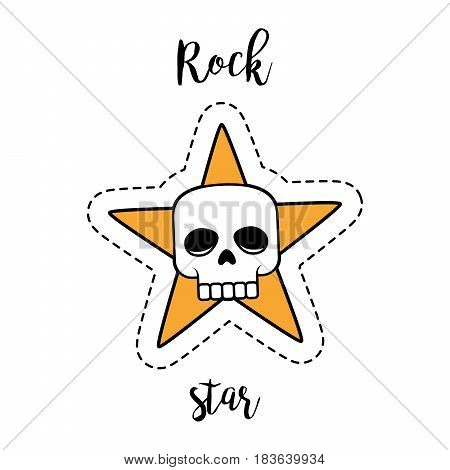 Fashion patch element with quote, Rock star. Human skull and star vector badge