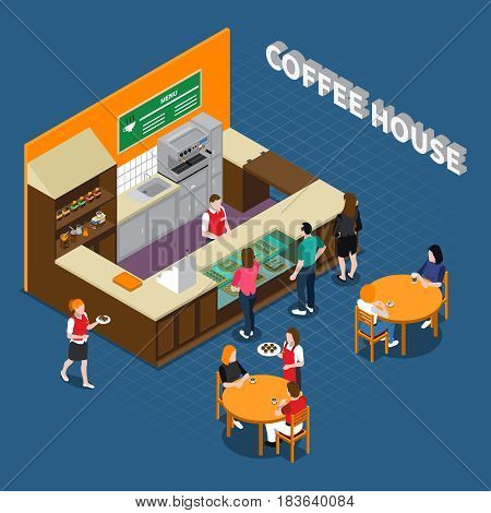 Coffee house isometric composition with barista behind counter waiters and clients on blue textured background vector illustration