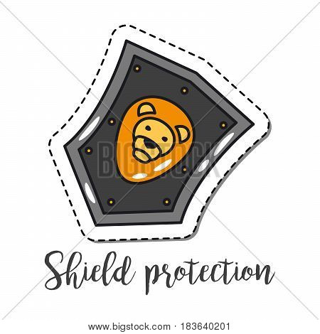 Fashion patch element with quote, Shield protection. Vector illustration
