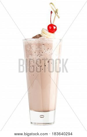 Chocolate Cocktail On A White Background Decorated With Banana And Maraschino Cherry