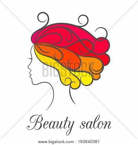 Contour bright colourful logo for beauty salon with female profile