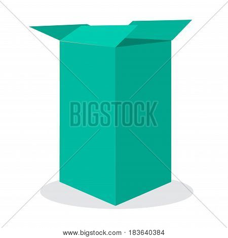 Open blue box. Vector illustration on isolated background for your design