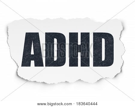 Medicine concept: Painted black text ADHD on Torn Paper background with  Hand Drawn Medicine Icons