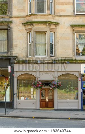 GLASGOW SCOTLAND - AUGUST 16 2016: Exterior view of the Cail Bruich restuarant in Great Western Road in Glasgow.