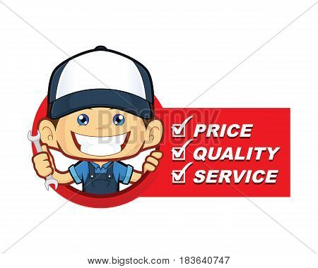 Clipart picture of a mechanic cartoon character with service list