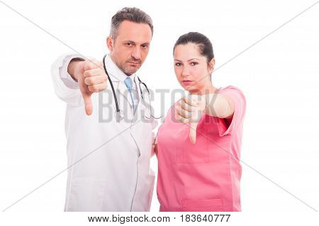 Dissapointed Medical Doctor And Woman Giving Thumbs Down