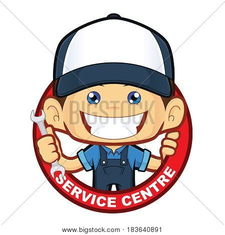 Clipart picture of a mechanic service centre cartoon character poster