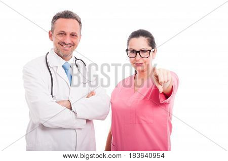 Beautiful Female Nurse Near Doctor Pointing At You