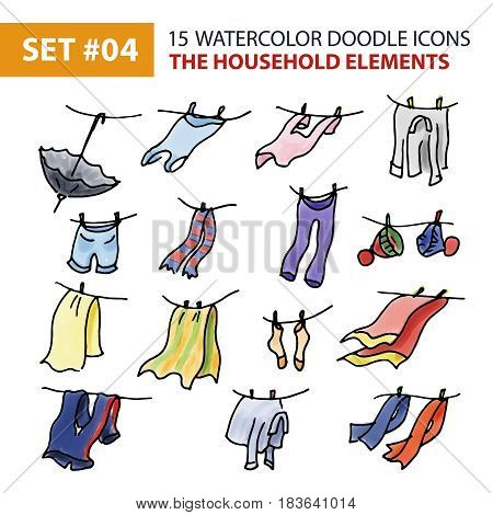 Watercolor Hand Drawing Icons Set - The Household Elements. Sketch Doodle Illustration of Hand Drawn Elements of Linen, Drying Clothes, Outerwear. Hand Drawing Line Icons for Web, App and Mobile. .