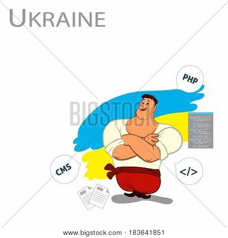 Ukrainian man, programmer. Vector Concept Ukraine crisis. Flat style colorful Cartoon illustration.