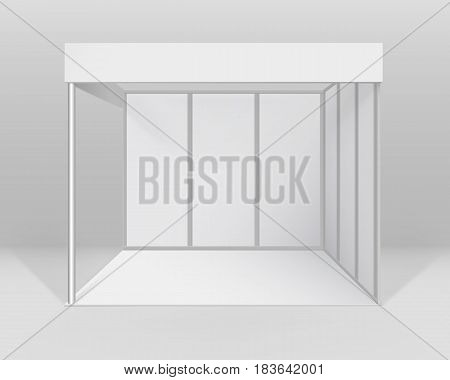 Vector White Blank Indoor Trade exhibition Booth Standard Stand for Presentation Isolated with Background