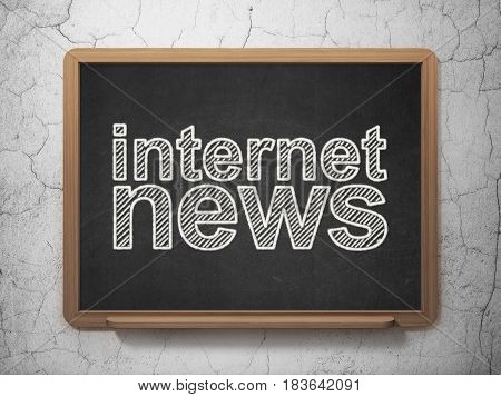 News concept: text Internet News on Black chalkboard on grunge wall background, 3D rendering