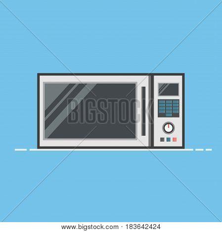 FLat Design Microwave Oven Vector Illustration. High Quality Premium Illustration