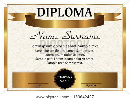 Template diploma. Elegant gold design. Vector illustration.
