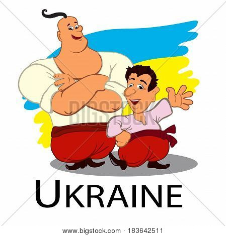 Two happy cossacks. Vector illustration isolated on white. Cute cartoon characters in flat style. Ukrainian flag in background. Separate layers.