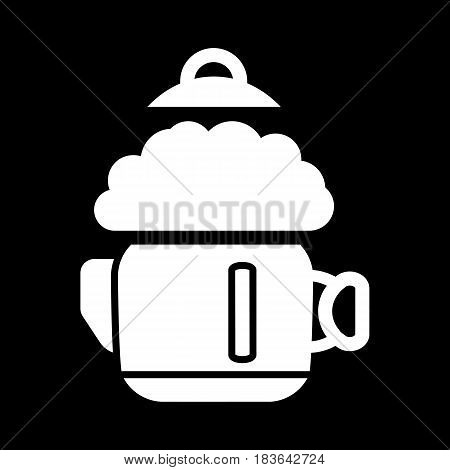 a boiling kettle and steam. on a black background. eps 10