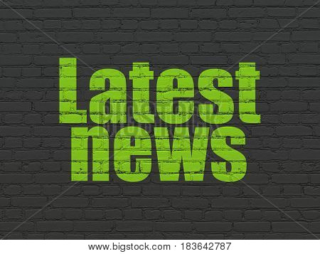 News concept: Painted green text Latest News on Black Brick wall background