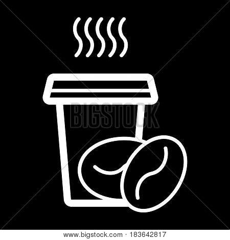 Coffee paper glass sign icon. Hot coffee button. Hot coffee drink with steam and grain. Takeaway. Coffee to go. Vector. eps 10