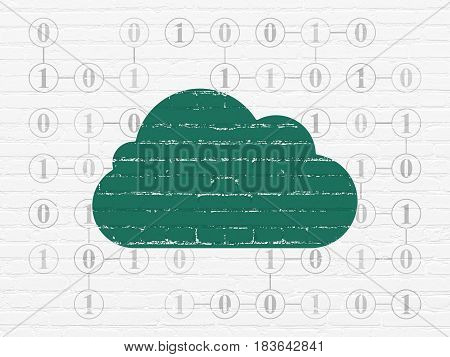 Cloud networking concept: Painted green Cloud icon on White Brick wall background with Scheme Of Binary Code