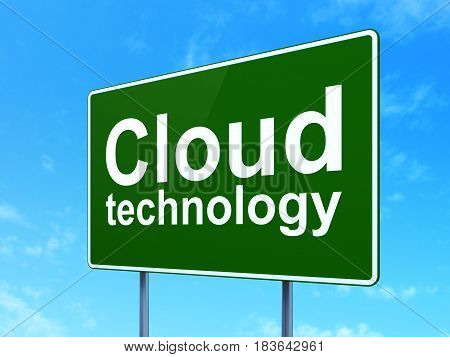 Cloud networking concept: Cloud Technology on green road highway sign, clear blue sky background, 3D rendering