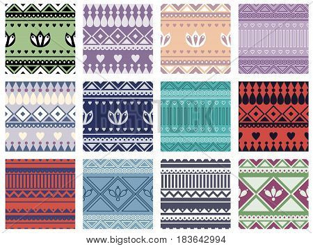 Set Of Seamless Vector Geometric Colorful Patterns With Ornamental Elements,endless Background With